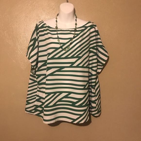 eshakti Tops - eShakti green striped top size 2X, polyester